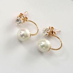 CMD by Mirna - Song hye kyo Pearl star gemstone Shape Decorated Simple Design jacket earring