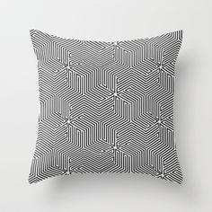 Tricube modern black and white Throw Pillow by Lotecani - $20.00