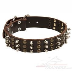 Studed and spiked #Quality #Leather #Dog #Collar $49.90