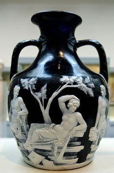 The Portland Vase, made in Rome in the late first century BCE or early first century CE. It is made of glass, and is located in the British Museum.