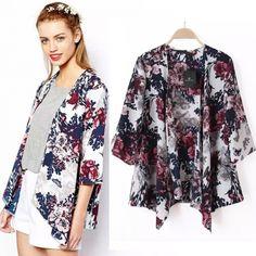 Hotsale Vintage Women Floral Blazer Batwing Kimono Coat Shirt Blouse Jacket Hot Cardigan