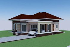 This tropical style one storey house design has 3 bedrooms, 2 bathrooms, 135 square meters total floor area. Proportion is the key in the layout, with the entry Modern Bungalow House Design, Simple House Design, Small Bungalow, Round House Plans, My House Plans, House Plans Mansion, Bungalow House Plans, Four Bedroom House Plans, Philippines House Design