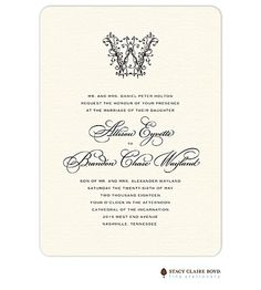 Ornate Monogram Wedding Invitation | Taste Buds on the Avenue