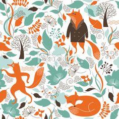 seamless pattern with the cute foxes Lizenzfreie Vektorillustrationen