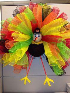 mesh ribbon candy corn wreath with legs | deco mesh wreaths | Deco Mesh Wreaths