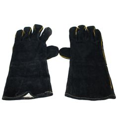 Fire Gloves Fire Resistant Heat Proof Leather Firegloves Stove Oven Fireside BBQ #Inglenook