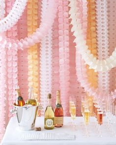 Simple streamers may have looked delightful at your prom, but for your wedding, you'll want to upgrade to these buoyant, intricately designed versions. Hang them en masse, and you've got a chic way to decorate a champagne bar -- or any focal point that needs more oomph. Leaf garlands, arcade garlands, pageant garlands, at bulkpartysupplies.com.