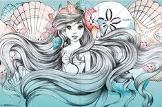 DIY Diamond Painting. Soft Mermaid Drawing. Square drill, 6 kit sizes to pick from.