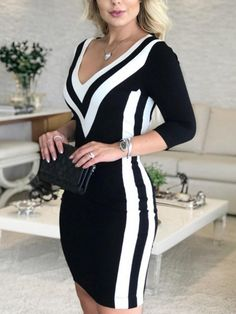 Spring Sexy Striped Bodycon Dress Women Long Sleeve V-Neck Casual Dress Elegant Lady Work Office Dress Size S Color Black Elegant Dresses For Women, Work Dresses For Women, Clothes For Women, Ladies Dresses, Look Fashion, Fashion Outfits, Estilo Fashion, Fall Outfits, Robes D'occasion