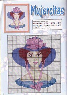 0 point de croix femme au chapeau bleu - cross stitch blue hat lady