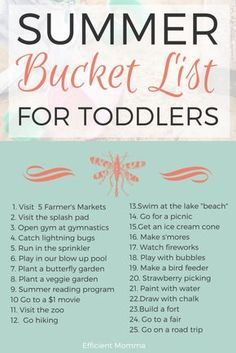 Summer Bucket List for Toddlers - Lots of fantastic toddler friendly ideas for this summer!