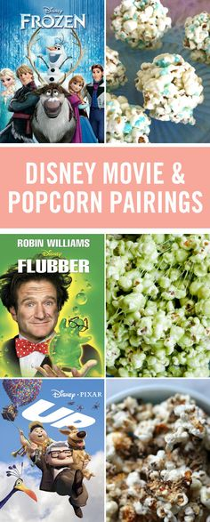 Nothing goes better with movie night than popcorn, but who knew there were so many ways to eat it? These delicious recipes pair with your favorite Disney movies to make the perfect family movie night snacks from Green Slime Popcorn for Flubber to Rapunze Disney Inspired Food, Disney Food, Disney Recipes, Disney Snacks, Family Movie Night, Family Movies, Movie Night With Kids, Kino Party, Comida Disney