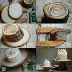 Tree wood cake stand