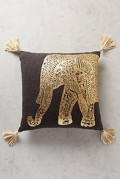 Navy and Gold Traveling Elephant Pillow Anthropologie $95