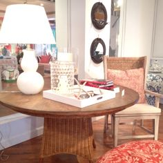 Woven water hyacinth Montauk dining table by Barclay Butera.  Makes me want a beach house!  New to his collection this spring.  So fresh & the red, white & blue color palette in his showroom was so happy!
