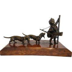 Vienna Bronze figure of a hunter and his dogs by Carl Kauba, early from chateau on Ruby Lane Sculpture Art, Sculptures, Vienna, Antique Silver, Native American, Objects, Ruby Lane, Antiques, Statues