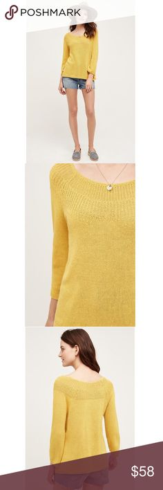 "Anthropologie Dark Yellow Mila Pullover by Moth Details: Size: L. Brand new with tags. Note: color is a darker yellow than in the stock photo.  Linen-cotton sweaterknit Hand wash Imported Style No. 4113265409501 Dimensions Regular: 24.5""L Petite: 22.75""L Anthropologie Sweaters"