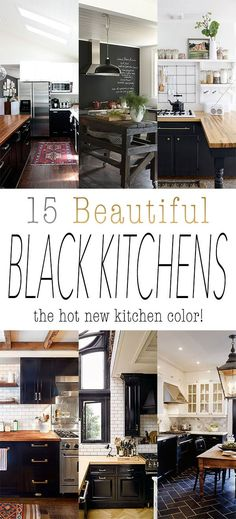 15 Beautiful Black Kitchens /// The Hot New Kitchen Color Take a guess what the HOT NEW Kitchen COLOR is? Was your answer BLACK? Well that is the HOT New Trending color in the Kitchen world! It can be black cabinets…black wall…black tile…black floors…bl Kitchen Wall Colors, Kitchen Paint, Kitchen Layout, Kitchen Designs, Black Kitchen Cabinets, Black Kitchens, Cool Kitchens, Kitchen With Black Appliances, Wall Cabinets