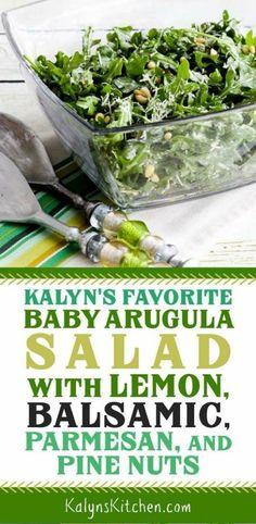 Kalyn's Favorite Baby Arugula Salad with Lemon, Balsamic, Parmesan, and Pine Nuts - Kalyn's Kitchen - Recipes Healthy Kitchen Recipes, Gourmet Recipes, Cooking Recipes, Healthy Recipes, Lunch Recipes, Vegetarian Recipes, No Bake Cherry Cheesecake, Cheesecake Desserts, Parmesan