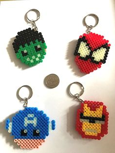 Marvel Spiderman, Captain America, Hulk, Iron man Keyring Handmade UK