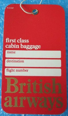 British Airways First Class Bag Tag