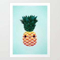 Pineapple // Decoration illustration poster by galvanillustration