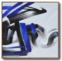 CZ Art Design - Hand-Painted Minimal Art #XB116A, black, white, blue, square abstract painting for minimalist home.