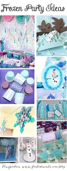 Frozen birthday party, frozen party ideas and frozen decoration inspiration. Frozen cupcakes, frozen favors via Frozen Themed Birthday Party, 4th Birthday Parties, Cake Birthday, 5th Birthday, Birthday Ideas, Schneemann Party, Disney Frozen Party, Frozen Frozen, Childrens Party