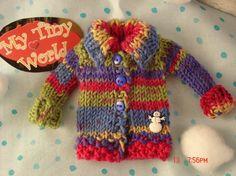 PDF pattern- Colorful Hand Knit Cardigan for Blythe Dolls