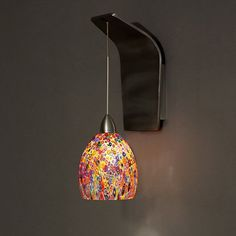Fiori Brushed Nickel LED Pendant Wall Sconce With Millefiori Glass Wac Lighting 1 Light Ar
