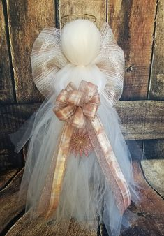 This stunning angel is 3 ft tall, is lighted, and accented with ivory, soft pink and gold colors. Pictures cant even do this angel justice! We can personalize the bow as well Diy Christmas Angel Ornaments, Easy Christmas Decorations, Christmas Tree Toppers, Christmas Angels, Holiday Crafts, Christmas Holidays, Xmas, Tomato Cage Crafts, Tomato Cages