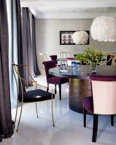 Via Nuevo Estilo {love every chair, table, drapery, everything! Dining Decor, Dining Room Design, Dining Chairs, Dining Rooms, Dining Table, Fine Dining, Round Dining, Purple Chair, Dining Room Inspiration