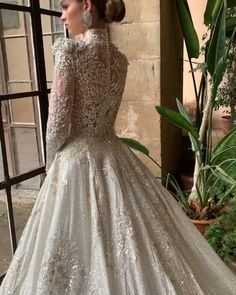 "Stunning Embellished A-Lain Princess Wedding Dress / Bridal Gown with High Neckline, Long Sleeves and a Train. Collection ""Royal"" by Milla Nova."