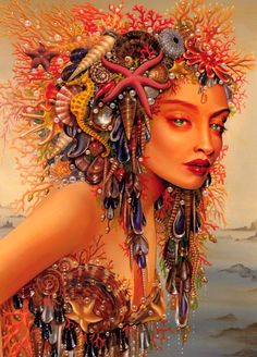 Maxine Gadd - glamour mermaid with jewels and shells