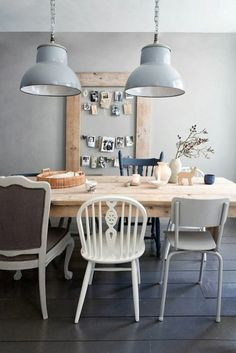 Modern dining room interior designs chairs of various industrial lamps Home Interior Design, Dining Room Design, Dining Table, Elegant Dining Room, Woven Dining Chairs, Country Dining Rooms, Beautiful Kitchens, Formal Dining Room, Dining Room Furniture