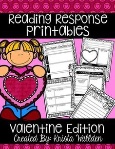 "FREE Reading Response Sheets! These are quick, helpful printables to use with your favorite Valentine's Day literature! Great for read alouds, read to self, homework responses and more! This set also includes a ""Will you 'BEE' my Valentine?"" writing page that students can use for letters or valentines."