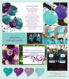 teal and purple wedding color combinations | Teal and purple is just one of many amazing color combinations that ...
