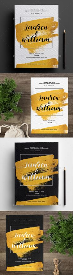 Buy Gold Invitation 03 by arifpoernomo on GraphicRiver. Gold Invitation, can be used for your wedding part. Very easy to edit text. File features : Size Inches + Bleed a. Invitation Card Birthday, Anniversary Invitations, Gold Invitations, Invitation Card Design, Baby Shower Invitations, Invitation Cards, Invites, Print Templates, Design Templates