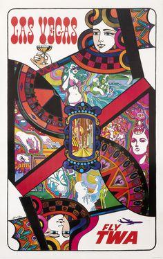 Las Vegas - Fly TWA (playing card jet) by Klein, David | Shop original vintage #posters online: www.internationalposter.com