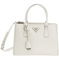 Prada White Saffiano Leather Convertible Top Handle Bag (391473101) (11.715 DKK) ❤ liked on Polyvore featuring bags, handbags, white, white purse, handle bag, prada, prada purses and white hand bags