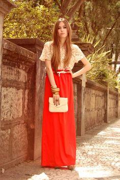 red maxi skirt, lace top.  pretty pretty.