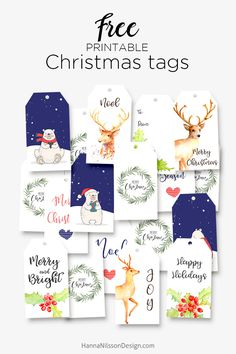 Free printable christmas holiday gift tags holiday gift tags free printable christmas gift tags from hanna nilsson design subscription required solutioingenieria Gallery