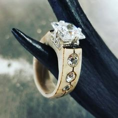 AntlerSterling silver and CZ ring with Antler by BulletPoints Deer Antler Crafts, Antler Art, Antler Jewelry, Antler Ring, Deer Horns, Antlers, Deer Decor, Princess Cut, Sheds