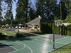 Home sport court - basketball with adjustable centre net for tennis, volleyball etc