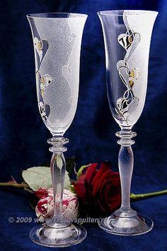 Skleničky na šampaňské - svatební * broušené sklo, český křišťál * Bohemia Crystal CZ.