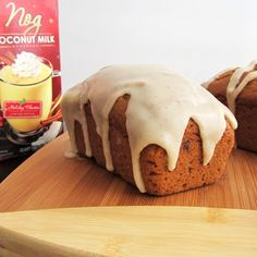 Gluten-Free Pumpkin Nog Bread:  1-1/3 cup brown rice flour ½ cup potato starch ¼ cup tapioca starch ¼ cup buckwheat flour 2 teaspoons xanthan gum 2 teaspoons pumpkin pie spice 2 teaspoons baking powder  1 teaspoon baking soda ½ teaspoon salt 1 15-ounce can pumpkin puree 1-1/4 cups dairy-free Nog (So Delicious Dairy Free Nog) ¾ cup firmly packed brown sugar (see note in post above for options) ¼ cup rice bran 1 teaspoon vanilla extract Dairy-Free Nog Icing, optional (but excellent!)