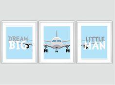 Baby Boy Nursery Art Chevron Airplane Nursery Prints - Dream Big Little Man - Transportation Nursery Decor, Baby Wall Art, Boys Room on Etsy, $39.99