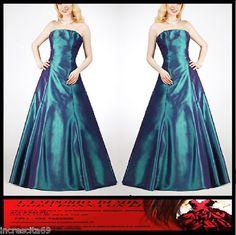 #saldi #sconti abito vestito da Cerimonia donna Sposa Damigella Sera ballo Petrolio 48 50 52 XL