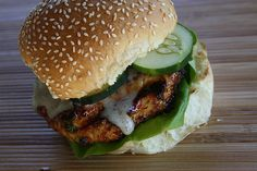 Ground chicken burgers with a teriyaki glaze These were soooo tasty! Made with a teryaki mayo instead of the ginger one. Did not have chili sauce- subbed ketchup w/ chili flakes