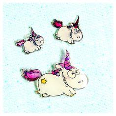 "digi stamp ""unicorn"" : shrink plastic charm #unicorn #digistamp #shrinky…"